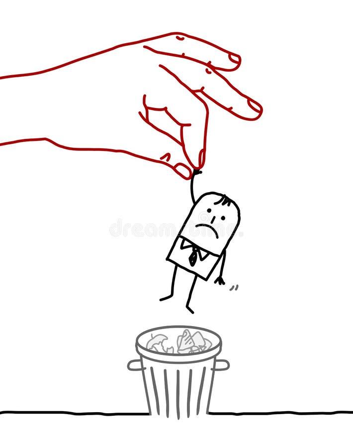 Karikaturgeschäftsmann - Abfalleimer vektor abbildung
