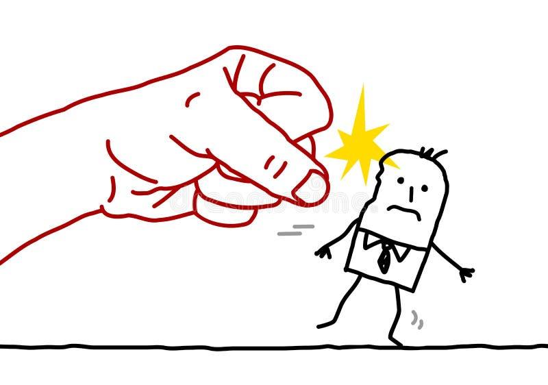 Karikaturgeschäftsmann - Angriff stock abbildung