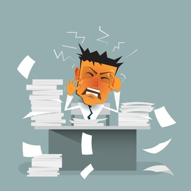 Karikaturgeschäftsmann beschäftigt, Druck oder Spannung, überbelastet, niedergedrückt und erschöpft lizenzfreie abbildung