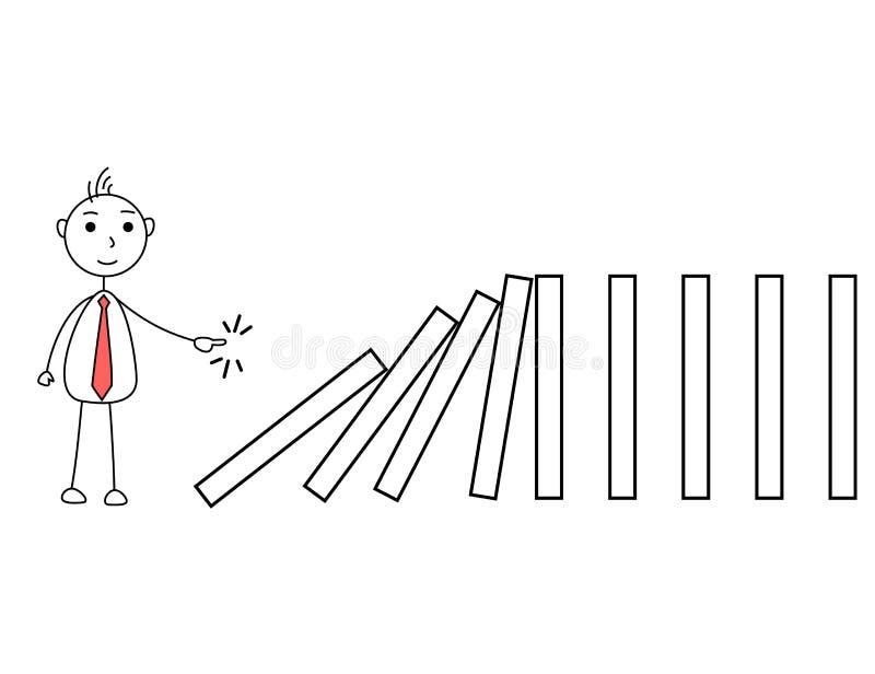 Karikaturgeschäftsmann, der die Stücke drückt lizenzfreie abbildung