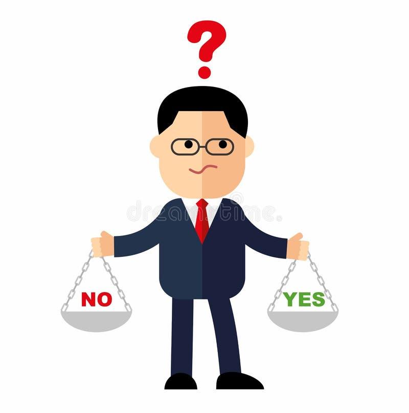 Karikaturgeschäftsmann, der Manager mit Gewichten in seinen Händen ist, zu wählen ja oder nein vektor abbildung