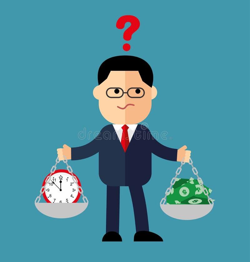 Karikaturgeschäftsmann, der Manager mit Gewichten in seinen Händen soll Zeit oder Geld wählen stock abbildung
