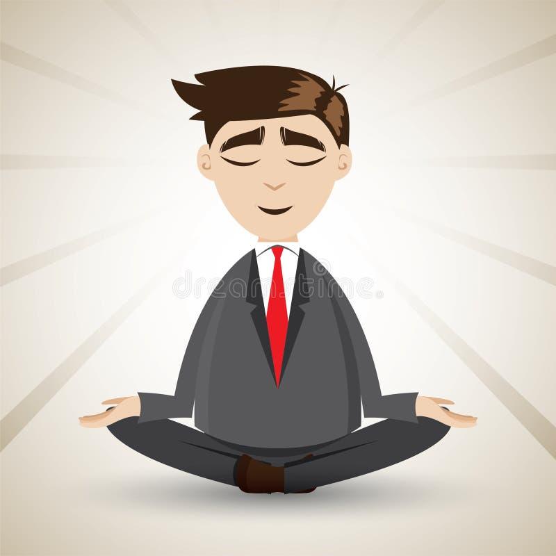 Karikaturgeschäftsmann, der mit Meditation sich entspannt lizenzfreie abbildung