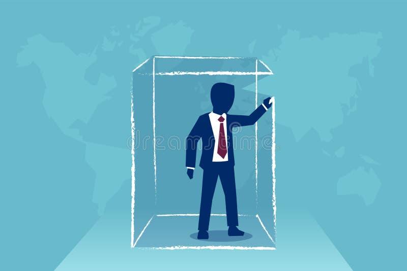 KarikaturGeschäftsmann in einem Kasten stock abbildung