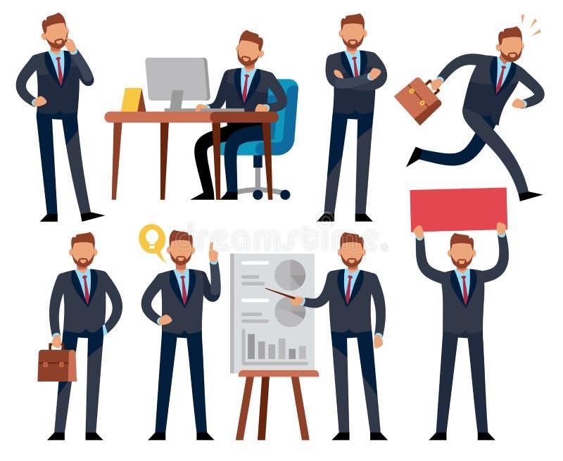 Karikaturgeschäftsmann Geschäftsprofessioneller in den verschiedenen Büroarbeitssituationen Vektorcharaktere eingestellt lizenzfreie abbildung