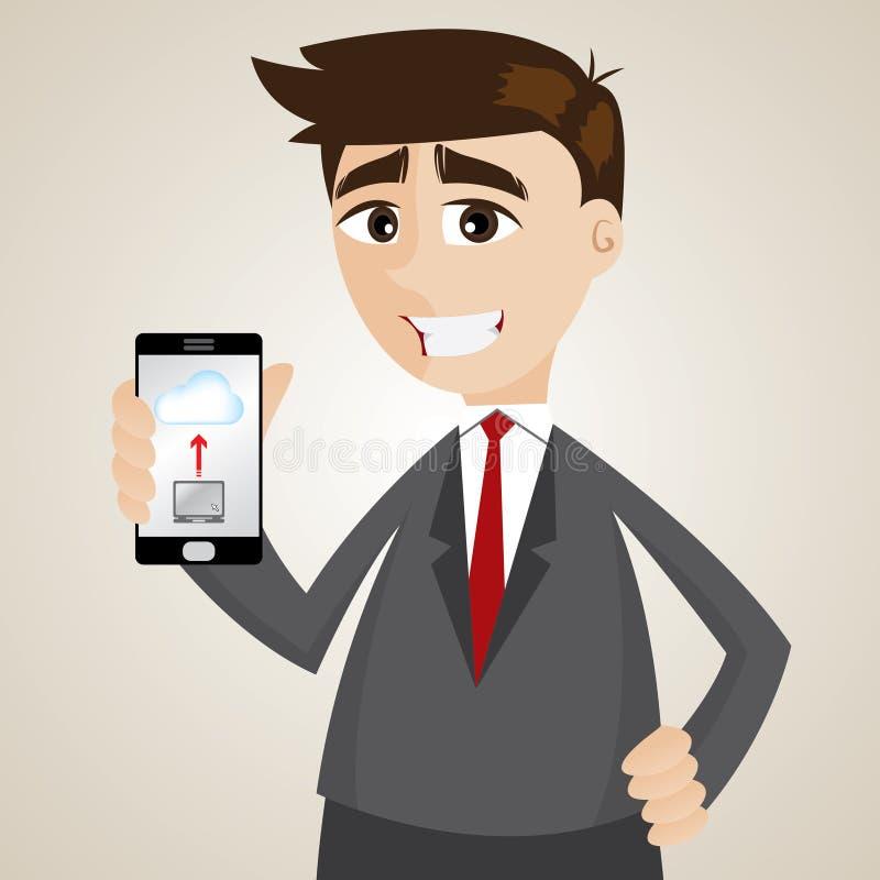 Karikaturgeschäftsmann mit der Smartphonewolkenverbindung lizenzfreie abbildung