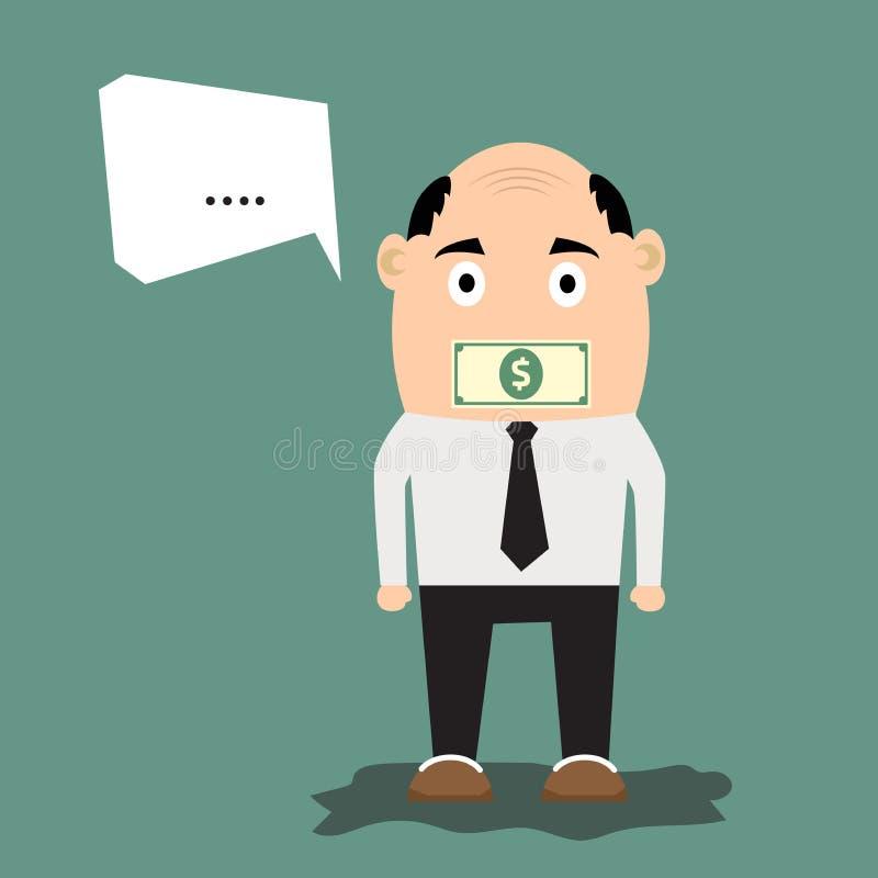 Karikaturgeschäftsmann mit Geld auf seinem Mund stock abbildung
