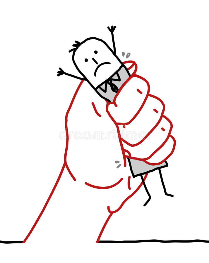 Karikaturgeschäftsmann - unter Druck stock abbildung