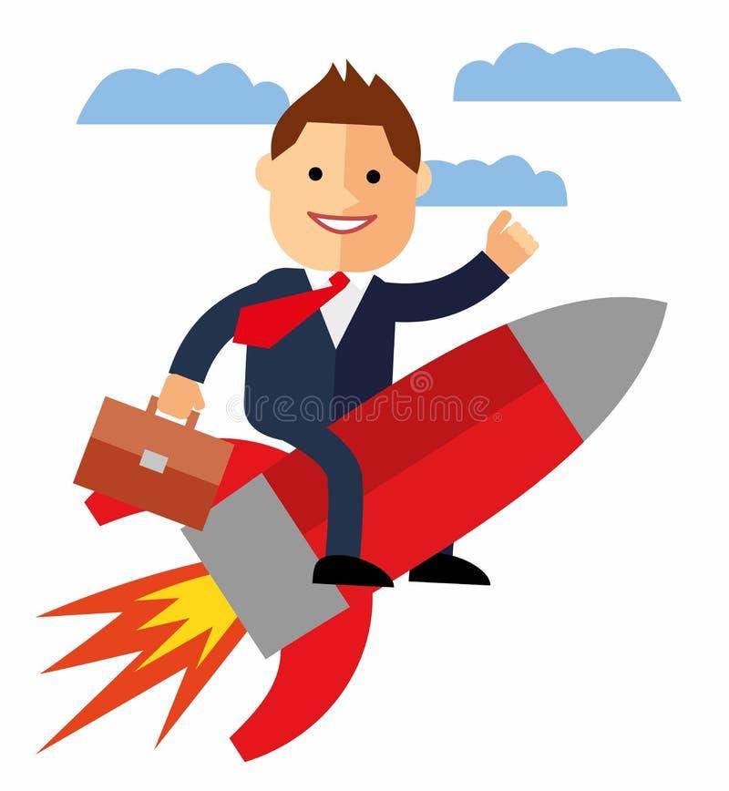 Karikaturgeschäftsmannfliegen auf einer Rakete auf Hintergrund des blauen Himmels, Start stock abbildung