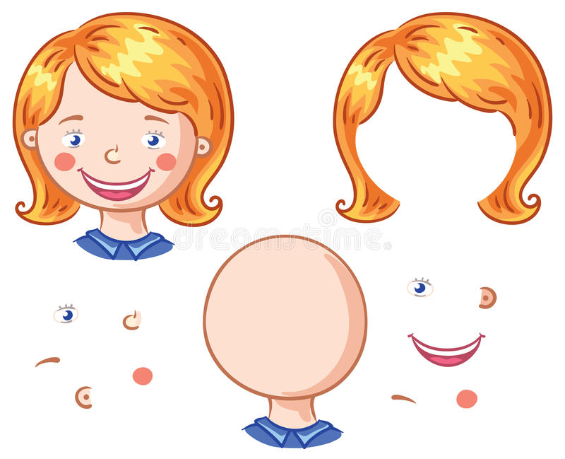 Karikaturgesicht zerteilt, damit Kinder zusammenfügen vektor abbildung