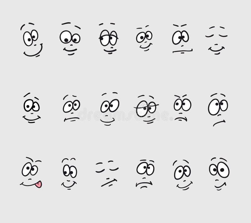 Karikaturgesichtsgefühle Stellen Sie von der unterschiedlichen Hand ein, die lustige traurige verrückte dumme schläfrige Gesichte vektor abbildung