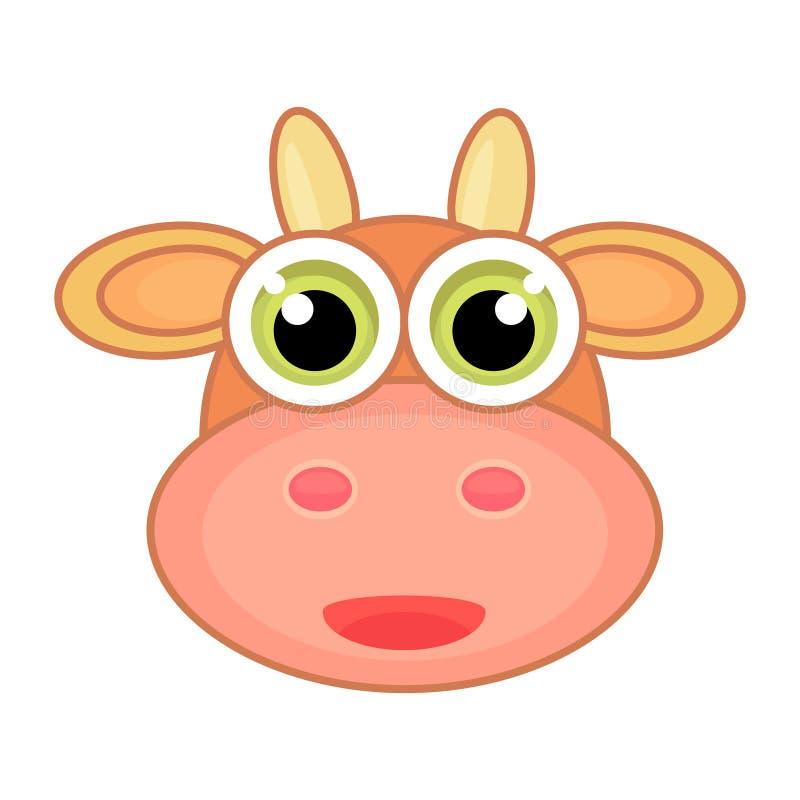 Karikaturgesichtsikone der Kuh mit Lächeln Positive und gute Ikone stock abbildung