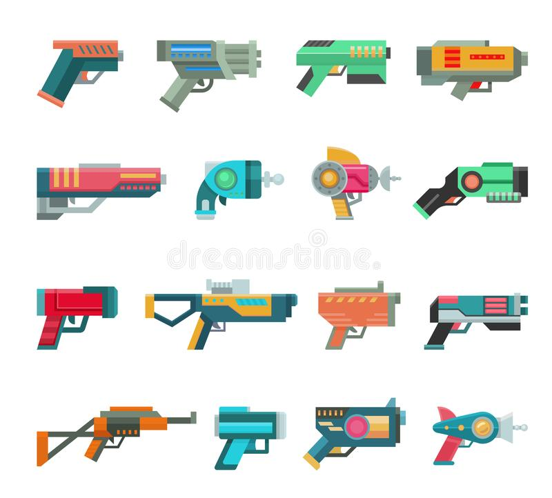 Karikaturgewehrvektor-Spielzeugbläser für Kinder-Spiel mit futuristischem Pistole und Kinderraygun von Ausländern in der Raumillu lizenzfreie abbildung