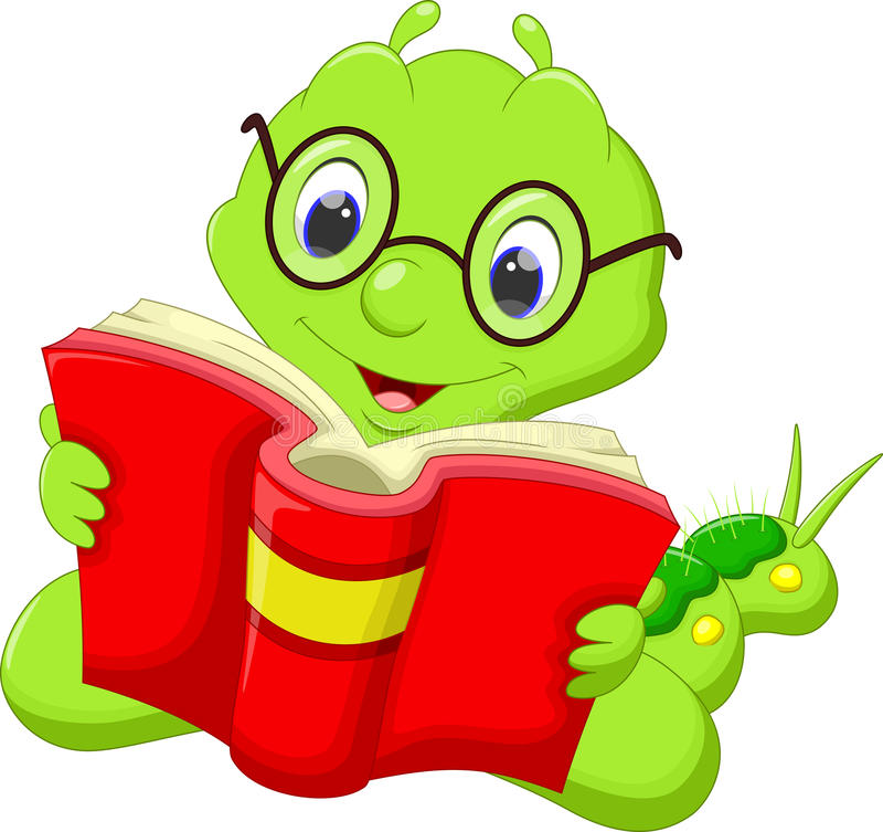 Karikaturgleiskettenfahrzeug, das ein Buch liest lizenzfreie abbildung