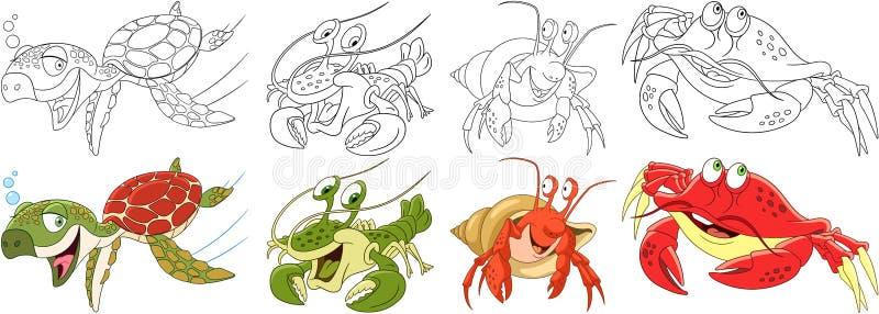 Karikaturgliederfüßertiere eingestellt lizenzfreie abbildung