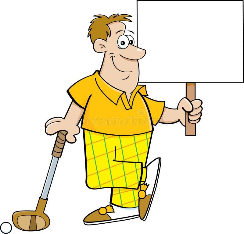 Karikaturgolfspieler, der ein Zeichen beim Lehnen auf einem Golfclub hält stock abbildung