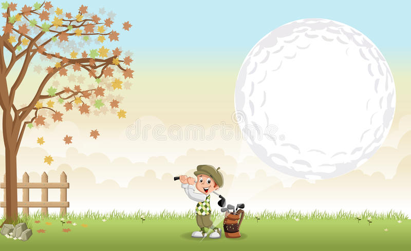 Karikaturgolfspielerjunge, der einen Golfball schießt stock abbildung