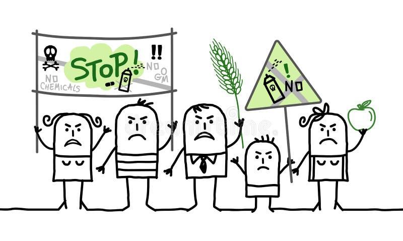 Karikaturgruppe von personen, die gegen giftige Landwirtschaftsindustrie protestiert lizenzfreie abbildung