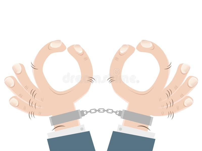Karikaturhände mit den Handschellen vektor abbildung