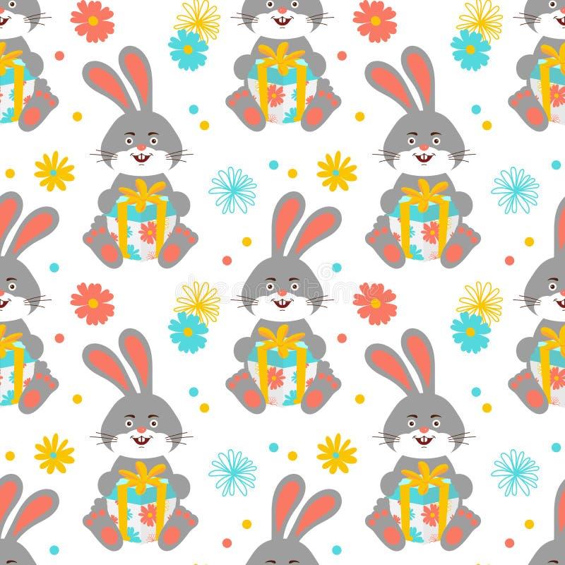 Karikaturhäschenmuster, nettes Kaninchen hält ein Geschenkmuster nahtlos Glückliche Hasen tapezieren auf weißem Hintergrund Vekto vektor abbildung