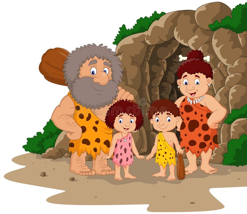 Karikaturhöhlenbewohnerfamilie mit Höhlenhintergrund vektor abbildung