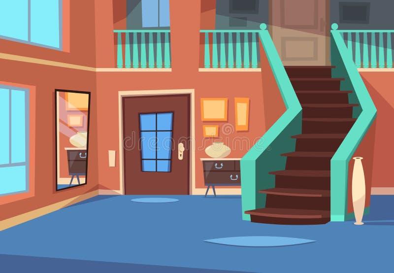 Karikaturhalle Hauseingangsinnenraum mit Treppe und Spiegel Karikaturinnenvektorhintergrund vektor abbildung