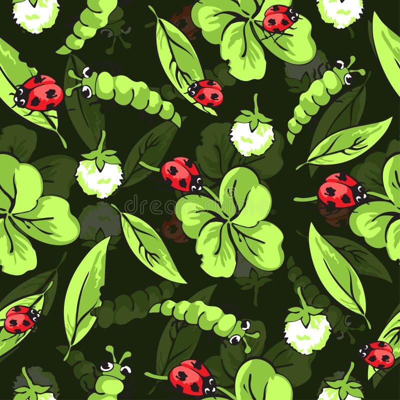 Karikaturhandzeichnungskäfermarienkäfer und -gleiskettenfahrzeuge, Blätter und Blumen des nahtlosen Musters des Klees, Vektorhint lizenzfreie abbildung