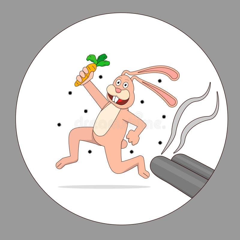 Karikaturhase läuft weg von dem Jäger vektor abbildung