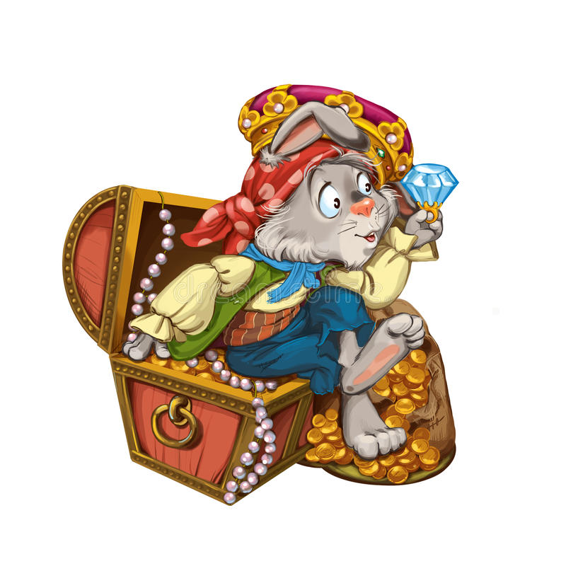 Karikaturhasepirat sitzt auf einem Kasten mit Schmuck stock abbildung