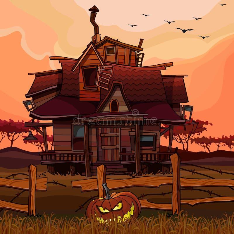 Karikaturhaus bei Sonnenuntergang mit einem Halloween-Kürbis nahe bei dem Zaun stock abbildung