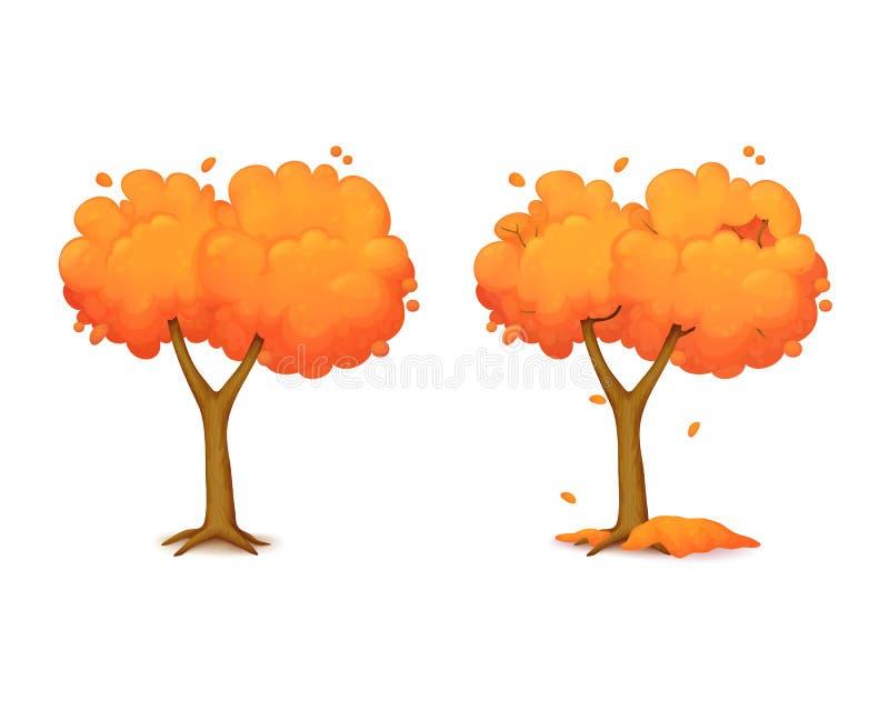 Karikaturherbstbaum mit zwei Niederlassungen mit dem Fallen verlässt lizenzfreie abbildung