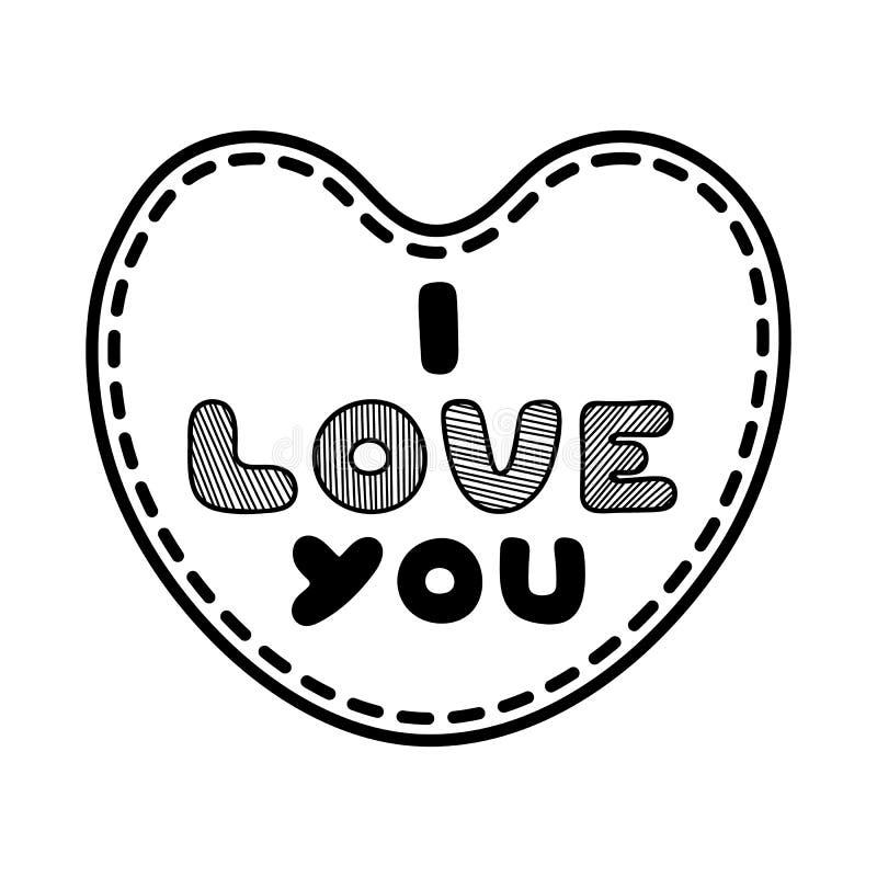 Karikaturherz mit nettem Text ich liebe dich für Valentinsgruß-Tag Einfache Abbildung Lineare Grafik stock abbildung