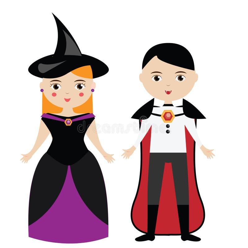 Karikaturhexen- und -Vampirscharaktere Junge und Mädchen in Karnevalshalloween-Kostümen lizenzfreie abbildung