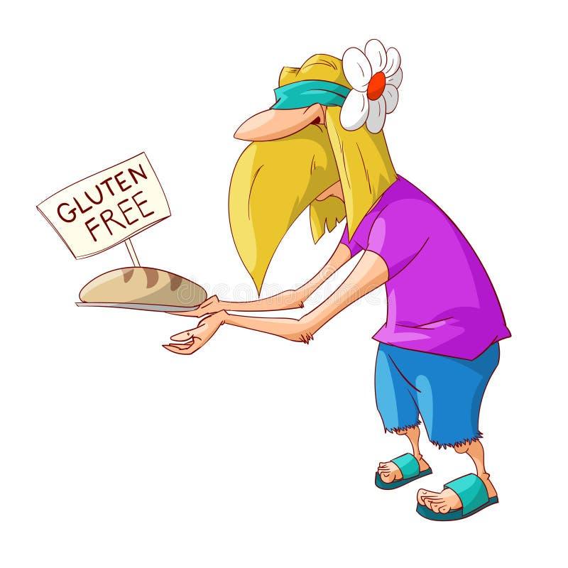 Karikaturhippie, die frei Gluten fördert lizenzfreie abbildung