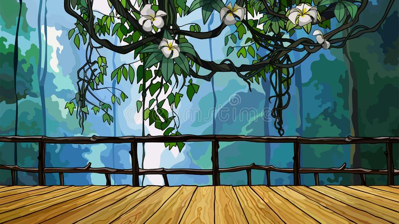 Karikaturholzbrücke im Dschungel mit Kriechpflanzenniederlassungen lizenzfreie abbildung