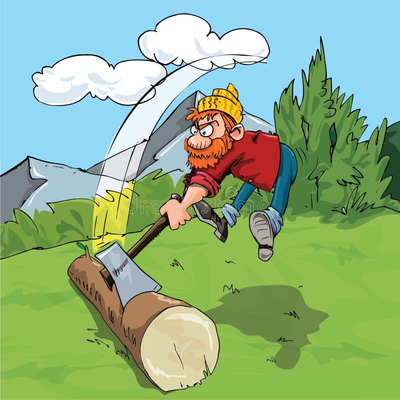 Karikaturholzfäller, der ein sehr großes Protokoll hackt stock abbildung