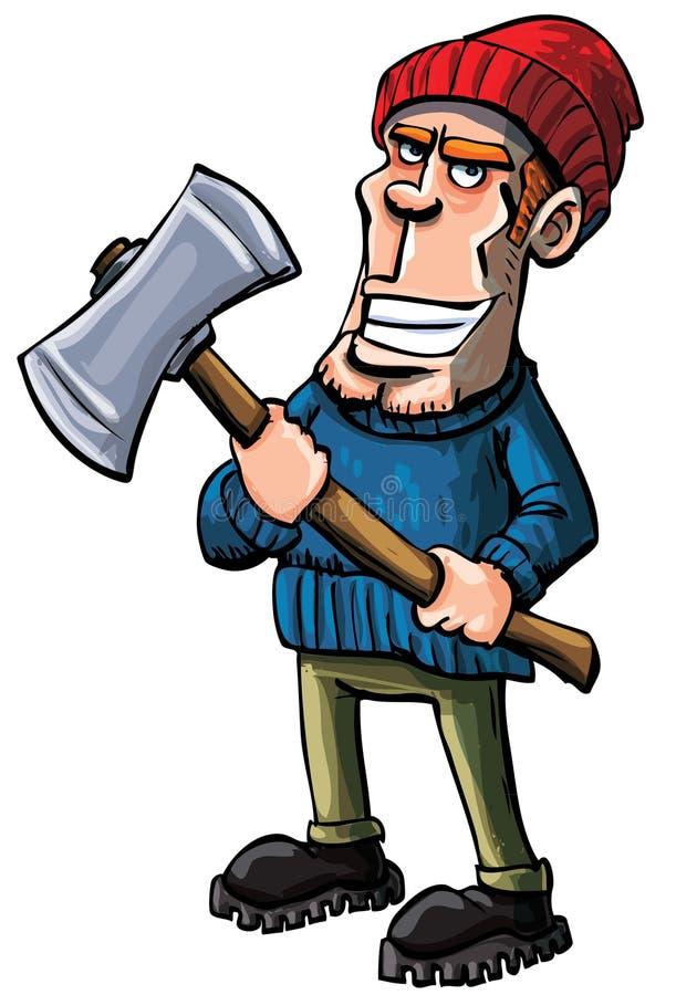 Karikaturholzfäller, der eine Axt anhält lizenzfreie abbildung