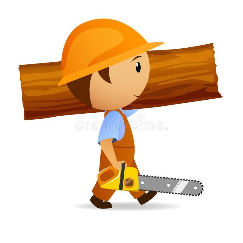 Karikaturholzfäller mit Kettensäge und Kabel vektor abbildung