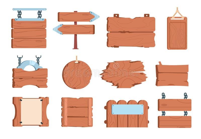 Karikaturholzschild Weinlese-Brettwegweiser der hölzernen Planke der Zeichenbrettrahmenfahne alte Vektorspiel vektor abbildung