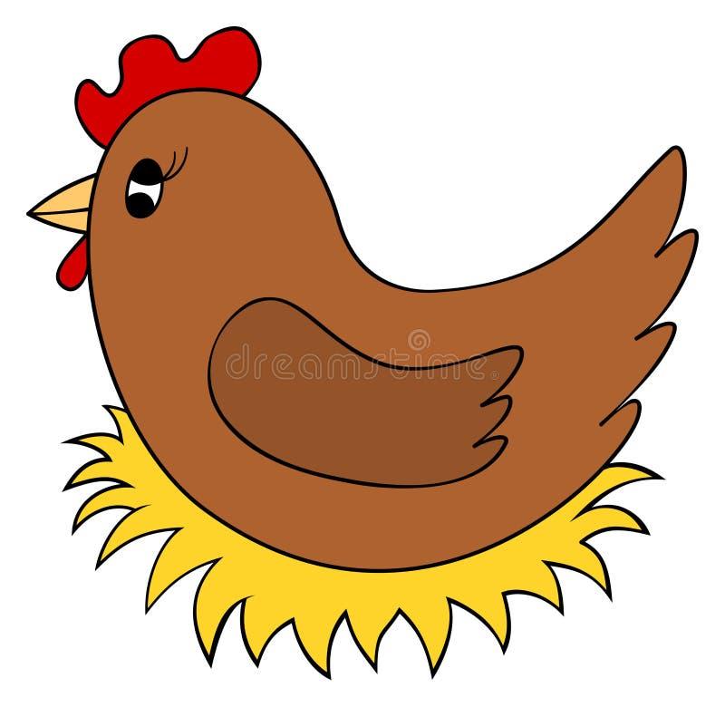 Karikaturhuhn auf Nest clipart Henne brüten Eier aus Auch im corel abgehobenen Betrag stock abbildung