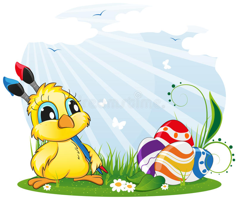 Huhn mit Malerpinseln auf Frühlingswiese stock abbildung