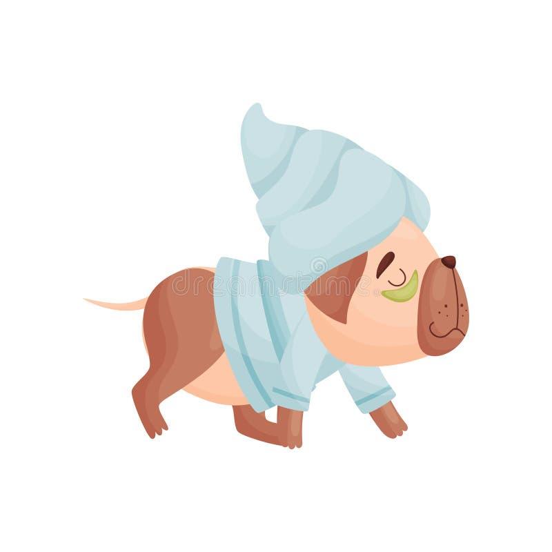 Karikaturhund in den Pyjamas und in einem Tuch auf seinem Kopf Vektorabbildung auf wei?em Hintergrund stock abbildung