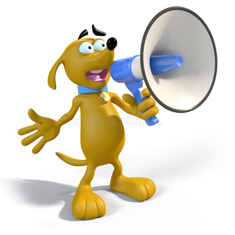 Karikaturhund mit Megaphon lizenzfreie abbildung