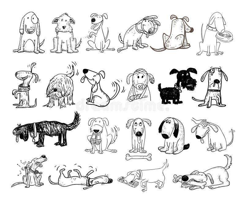 Karikaturhund und Katze, Vektorillustration lizenzfreie abbildung