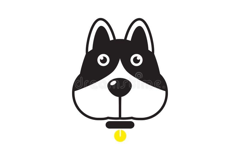 Karikaturhundekopf mit schwarzer Leine und rundem Goldmedaillon stock abbildung