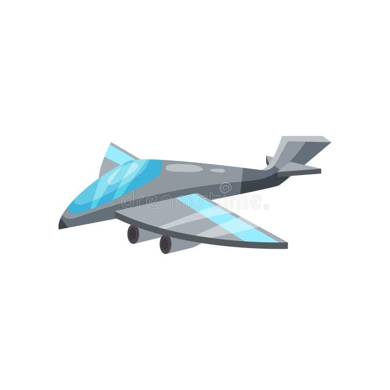 Karikaturikone des grauen Militärdüsenflugzeugs Flugzeuge mit starken Motoren Luftwaffenkämpfer Flaches Vektordesign lizenzfreie abbildung