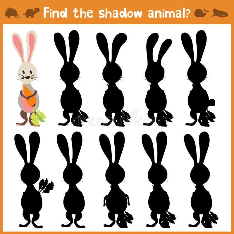 Karikaturillustration der Bildung findet passendes Schattenschattenbild-Tierkaninchen Zusammenpassendes Spiel für Kinder von pres lizenzfreie abbildung