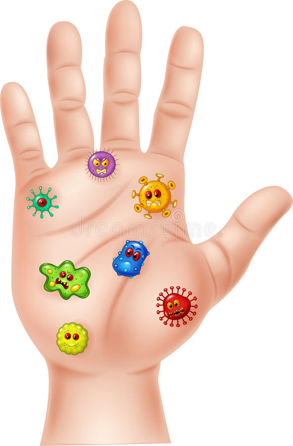 Karikaturillustration der schmutzigen Hand mit Mikrobe vektor abbildung