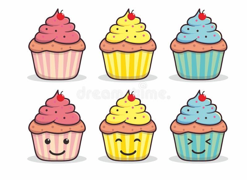 Karikaturillustration des kleinen Kuchens auf lokalisiertem weißem Hintergrund vektor abbildung