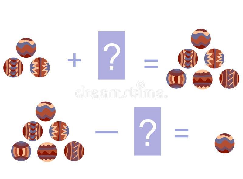 Karikaturillustration des mathematischen Zusatzes und des Abzugs Beispiele mit dekorativen Bällen stock abbildung